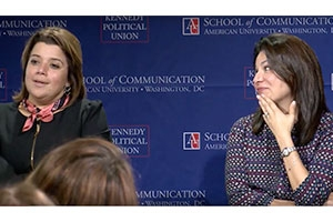 Ana Navarro, left, and Patti Solis Doyle, right speaking at American Unversity.