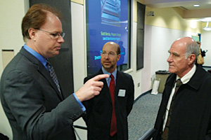 Scott Barclay of the National Science Foundation, left, chats with Jon Gould and Provost Scott Bass before his presentation, Feb. 16. (Photo: Jackie Corbett)
