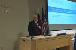Keynote speaker David Rubenstein presents.