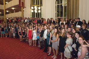 University College students outside the Kennedy Center's Opera House before a performance of Salome.