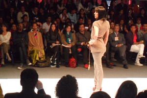 "Photo from third annual ""Bogotrans"" fashion show within the International Week of Fashion in Colombia."