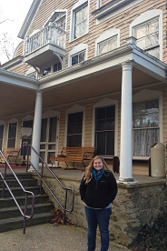 Intern Samantha Hunter at the Clara Barton House