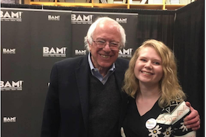 Senator Bernie Sanders (left) and Alli Woodard.