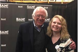 Senator Bernie Sanders (left) and Alli Woodard.