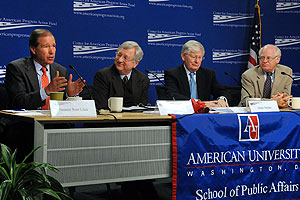 Photo: Sen. Tom Udall, Thomas Mann of the Brookings Institution, James Thurber, and Scott Lilly of the Center for American Progress Action Fund