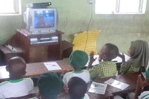 Children in Nigeria watching Sesame Street