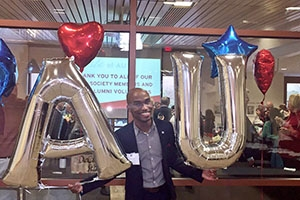 Shawn Richardson attends a volunteer event at AU.