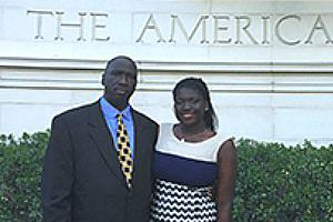 Sirah Bah, 2015 recipient of the Alumni Association Scholarship, pictured at AU with her father, Alpha Bah, CAS/MA '90.