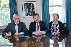 Left to right: Former Congressman David Skaggs, former AU president Neil Kerwin, and Laura Skaggs