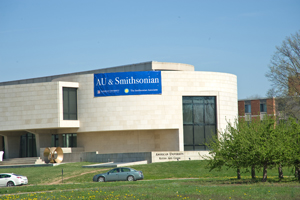 Smithsonian Associates at AU Banner on the Katzen Arts Center at American University.