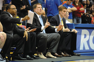 Photo: Jeff Jones coached without shoes on Jan. 19