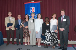 Members of ISSS staff with American University president and administrators