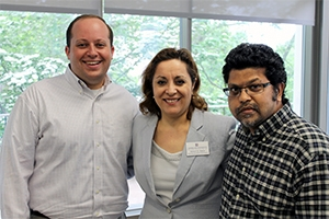 From left: University Staff Award winners Bloom, Bakar and Rasul. Photo by Patrick Bradley.