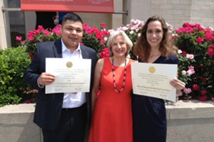 Eric Rodriguez, CAS/BA '14, and Caroline Brazill, SIS/BA '15, this year's Truman Scholars from American University, flank Joan Echols, associate director of the Office of Merit Awards