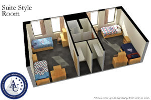 Suite style accommodations are available in Centennial Hall, located on the south side of main campus