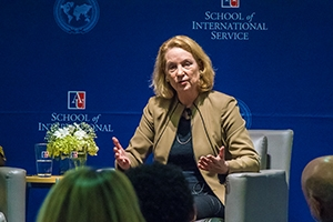 Susan Eisenhower speaks with an audience at a September 7 discussion.