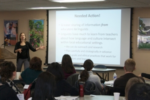Christine Mallinson, speaks at the TESOL program's January 26, 2013 workshop