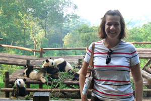 Marissa Klein at the Chengdu Panda Center.