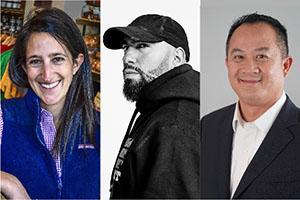 headshots of Danielle Vogel, Daniel Leon-Davis, John Morada