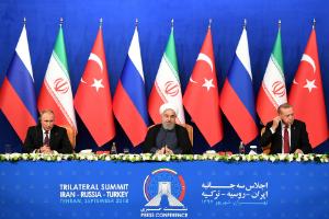 President Vladimir Putin of Russia, Hassan Rouhani of Iran and Recep Tayyip Erdogan of Turkey