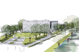 A rendering of the future Tenley Campus home of AU's Washington College of Law.