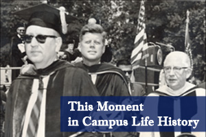 President John F. Kennedy visits AU to give a commencement address.