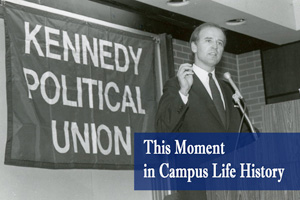 Senator Joe Biden speaks at a Kennedy Political Union event in the past.