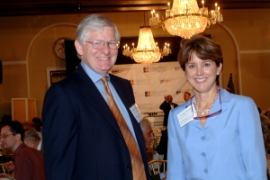 Professor James Thurber, left, and Bryce Harlow Foundation President Linda Dooley.