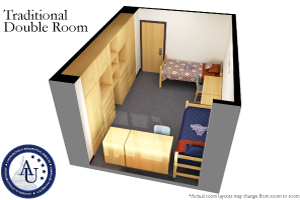 Traditional double accommodation in our residence halls