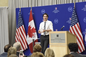 Canadian Prime Minister Justin Trudeau speaks to students about topics including climate, diversity, optimism, compassion.
