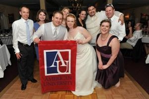 Congrats to the happy couple -- Sarah Twomey-Mercurio, Kogod/BSBA '09, and Daniel Orr, SPA/BA '08 -- married in 2012! Plenty of other AU alumni eagles were there to celebrate. (Photo courtesy of Sarah Twomey-Mercurio.)