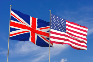 Flags of the United States and the United Kingdom.