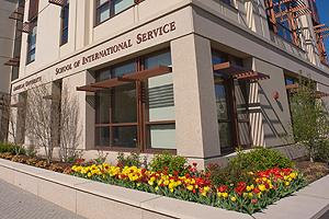 Exterior of the School of International Service Building at American University
