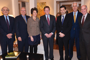 Photo: Peter Perl, Larry Kirkman, Liz Spayd, Neil Kerwin, Vernon Loeb, Stephen Hills, and Scott Bass, at a dinner hosted by Neil and Ann Kerwin