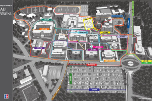 Map with walking routes on the main campus.