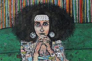 A mixed media work depicting a woman with clasped hands by artist Zena Assi.