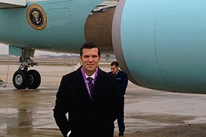 Wes Barrett (SOC/MA '10) covers the White House as a producer for Fox News Channel. He has flown on Air Force One over 50 times.