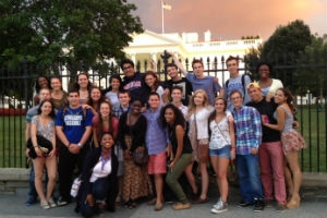 Community of Scholars students in front of the White House.