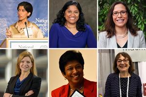 Collage headshots of Seema Khan, Esther Benjamin, Laura Rosenberger, Dawn Miller, Vidyamali Samarasinghe, and Nanette Levinson