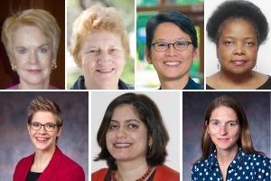 Ambassador Sally Shelton-Colby, Distinguished Scholar in Residence J Ann Tickner, Dean Christine BN Chin, Wanda Wigfall-Williams, Naomi Moland, Shadi Mokhtari, and Sarah Snyder.