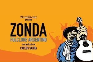 Barakacine presenta Zonda Folclore Argentino una pelíca de Carlos Saura man in blue shirt with white scarf holding up guitar on orange background