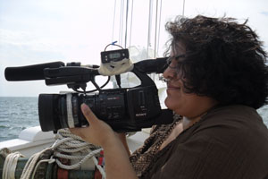 Student Aditi Desai films Ecoviews, a program developed for Maryland Public Television. Photo by Shanon Sparks.