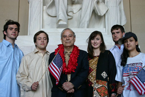 School of International Service professor Akbar Ahmed (center) with his student travelers.