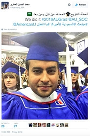 Tweet in arabic from graduating student Mohammed Alhassan Alemary expressing thanks and joy at receiving his degree