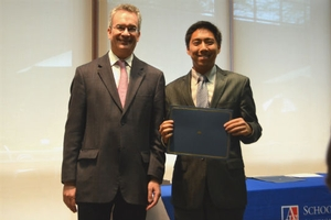 Alex Choy and Dean Jim Goldgeier at the SIS Awards Ceremony 2014