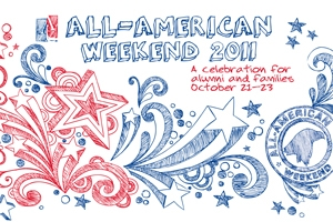 red, white and blue all american weekend logo