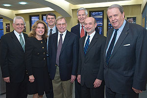 Photo: Ambassadors Edward O'Donnell, '74; Joan Plaisted, '69; David Dunn '74; Christopher Goldthwait, '71; and Clyde Taylor, '61; SIS dean Louis Goodman and Ambassador Curtin Winsor, '64, '71