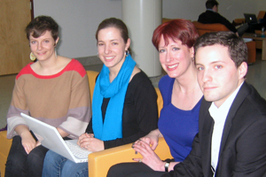 From left to right: Maggie Campbell, Demi Mclaren, Stef Woods, Chris Droukas