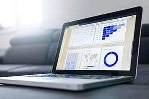 Laptop with google analytics on screen