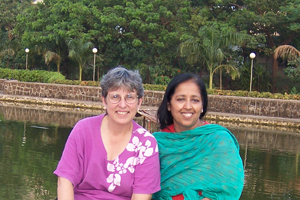 Professor Koenig with Professor Renu Modi, Director of the African Studies Center at the University of Mumbai, sitting in front of the university.<br />